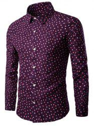 Turn-down Collar Long Sleeve Leaf Print Shirt - WINE RED 3XL