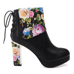 Floral Print Chunky Heel Ankle Boots - BLACK