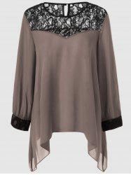 Plus Size Lace Splicing Asymmetrical Blouse - KHAKI