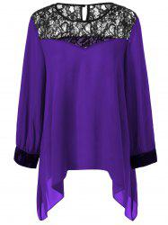 Plus Size Lace Splicing Asymmetrical Blouse