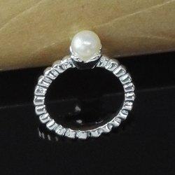 Delicate Faux Pearl Engagement Ring