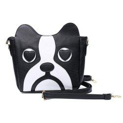 Sweet Kitten Pattern and Color Block Design Women's Crossbody Bag - BLACK