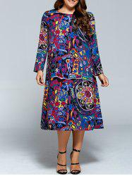 Plus Size Long Sleeve Graffiti Print Dress