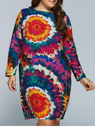 Plus Size Flower Print Long Sleeve Dress - RED 2XL