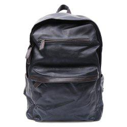 Casual Dark Color and PU Leather Design Backpack For Men - BLACK