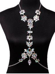 Hollow Out Rhinestone Flower Body Chain -