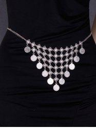 Round Coin Inverted Triangle Tassel Belly Chain