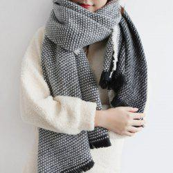 Bord Bordée Tissage Shawl Wrap Scarf - Noir
