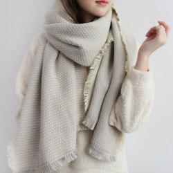 Fringed Edge Weaving Shawl Wrap Scarf - OFF-WHITE