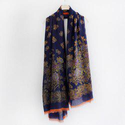 Retro Flowers Pattern Fringed Edge Shawl Scarf