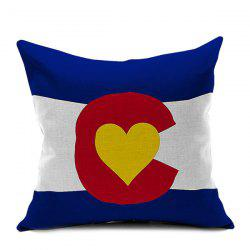 Flag Heart Printed Decorative Sofa Cushion Pillow Case -