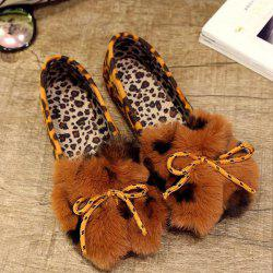 Round Toe Faux Fur Flock Flat Shoes -