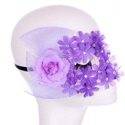 Masque Fleur strass bowknot Bandeau Party - Pourpre