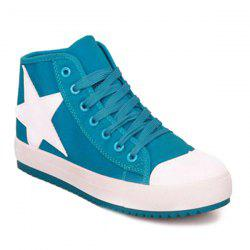 Color Block Star Pattern Lace-Up Athletic Shoes -