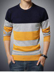 Color Block Stripe Imprimer col rond manches longues Pull -