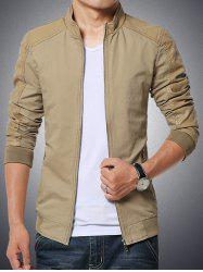 Stand Collar Splicing Design PU-Leather Zip-Up Jacket -