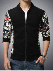 Stand Collar Flower Print Splicing Design Zip-Up Jacket -