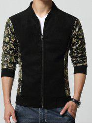 Stand Collar Camouflage Print Splicing Design Zip-Up Jacket