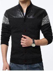 Stand Collar PU-Leather and Knited Splicing Geometric Emboss Jacket -