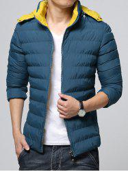 Hooded Color Block Zip-Up Padded Jacket -