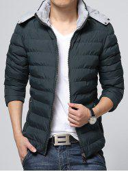 Hooded Color Block Zip-Up Padded Jacket - DEEP GREEN 3XL