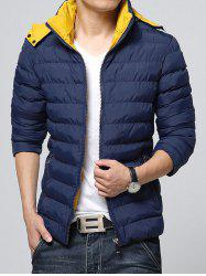 Hooded Color Block Zip-Up Padded Jacket - DEEP BLUE