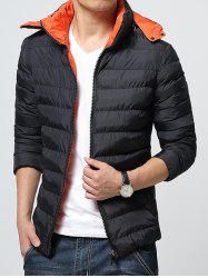 Hooded Color Block Zip-Up Padded Jacket