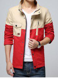 Stand Collar Color Block Splicing Design Pocket Zip-Up Jacket -