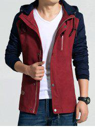 Hooded Drawstring Color Block Zip-Up Jacket