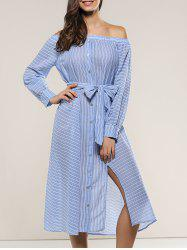 Off-The-Shoulder Tie Front Dress -