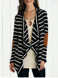 Elbow Patch Striped Cardigan -
