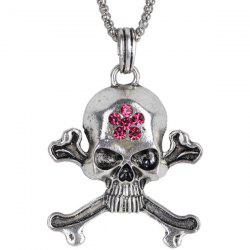 Burnished Rhinestone Floral Skull Necklace - SILVER