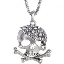 Rhinestone Sea Poacher Skull Necklace