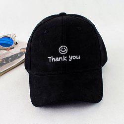 Smilling Face and Letters Embroidery Faux Suede Baseball Hat -