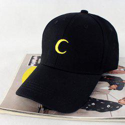 Crescent Embroidery Baseball Hat -
