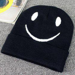 Big Smile Face Embroidery Flanging Knitted Beanie