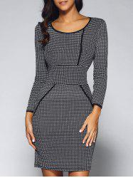 Houndstooth Long Sleeve Fitted Sheath Dress - BLACK