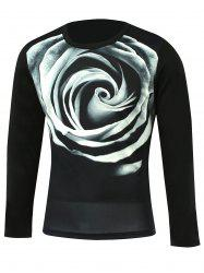 3D Flower Print Round Neck Long Sleeve T-Shirt - BLACK 5XL