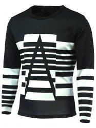 Sleeve Striped col rond manches longues T-shirt -