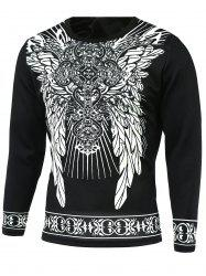 Ornate Print Round Neck Long Sleeve T-Shirt - BLACK