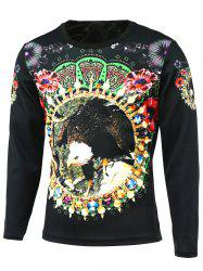 Round Neck Long Sleeve Floral 3D Bird Print T-Shirt