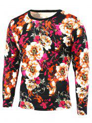 Round Neck Long Sleeve 3D Floral Print T-Shirt