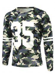 Camo Number Print Round Neck Long Sleeve T-Shirt -