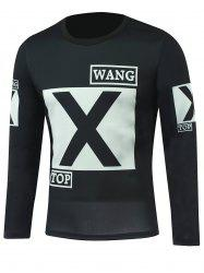 Letter Printed Round Neck Long Sleeve T-Shirt - BLACK 5XL