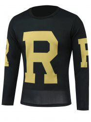 Round Neck Long Sleeves Letter Printed T-Shirt - BLACK 5XL