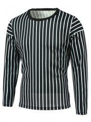 Vertical Striped Round Neck Long Sleeve T-Shirt - BLACK 5XL