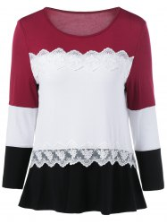 Lace Splicing Long Sleeves T-Shirt -