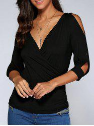 Cold Shoulder Surplice Top - BLACK