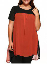 Round Neck Short Sleeve Color Block Top - BLACK AND ORANGE