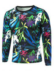 3D All-Over Floral Printed Long Sleeve T-Shirt - COLORFUL 5XL